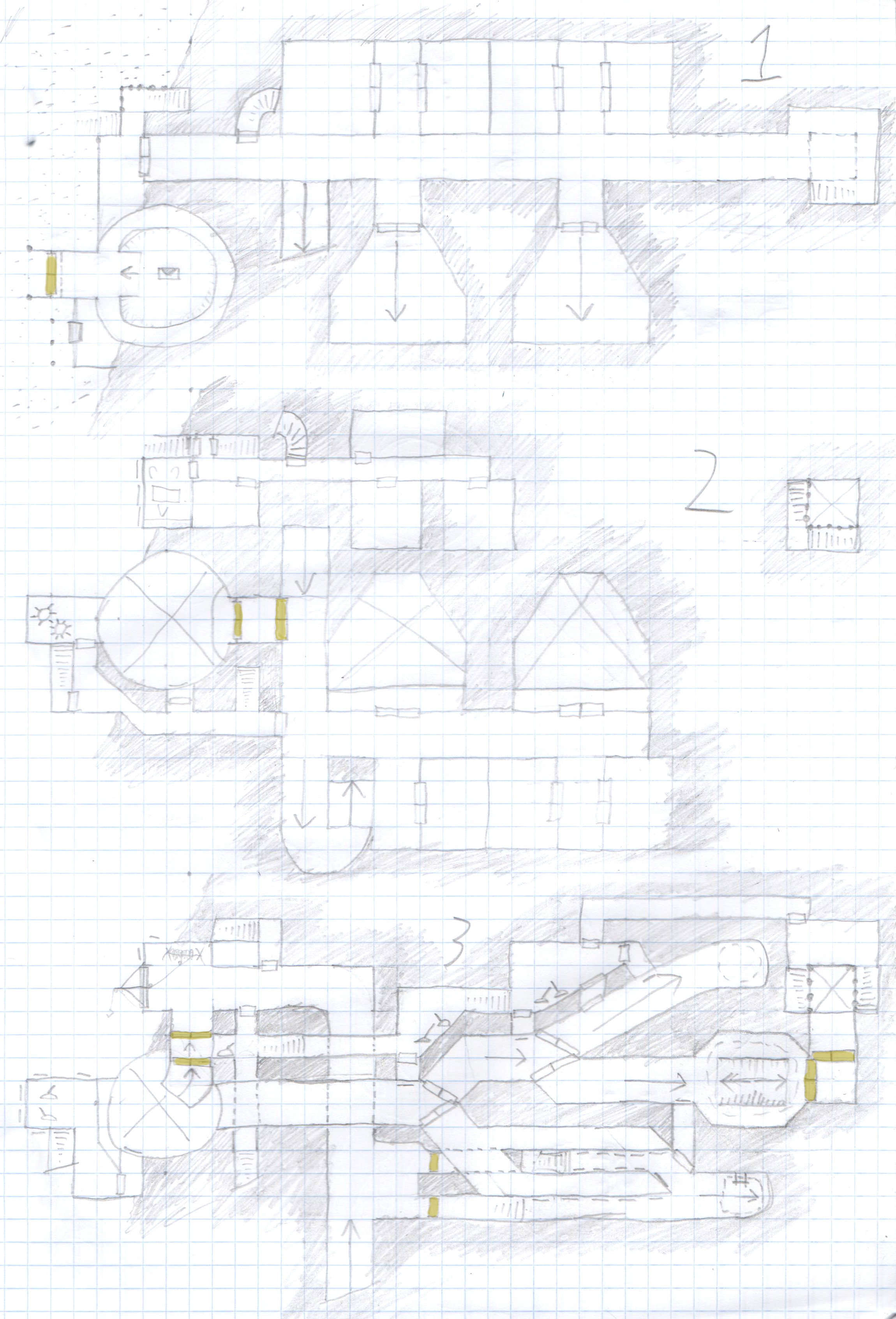 A 30-room dungeon in three levels, with lots of inter-level connections.